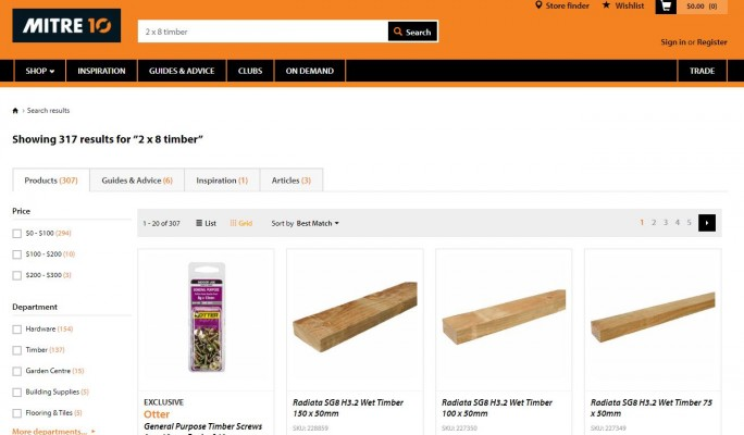 Mitre 10 website search