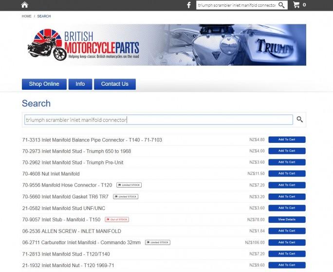 British Motorcycle Parts website search screenshot